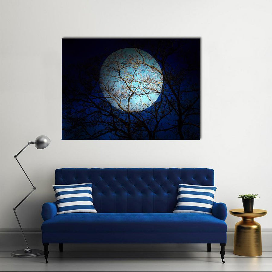 Old Dry Tree And Dark Night Sky Multi Panel Canvas Wall Art-4 Square-Small-Gallery Wrap-Tiaracle