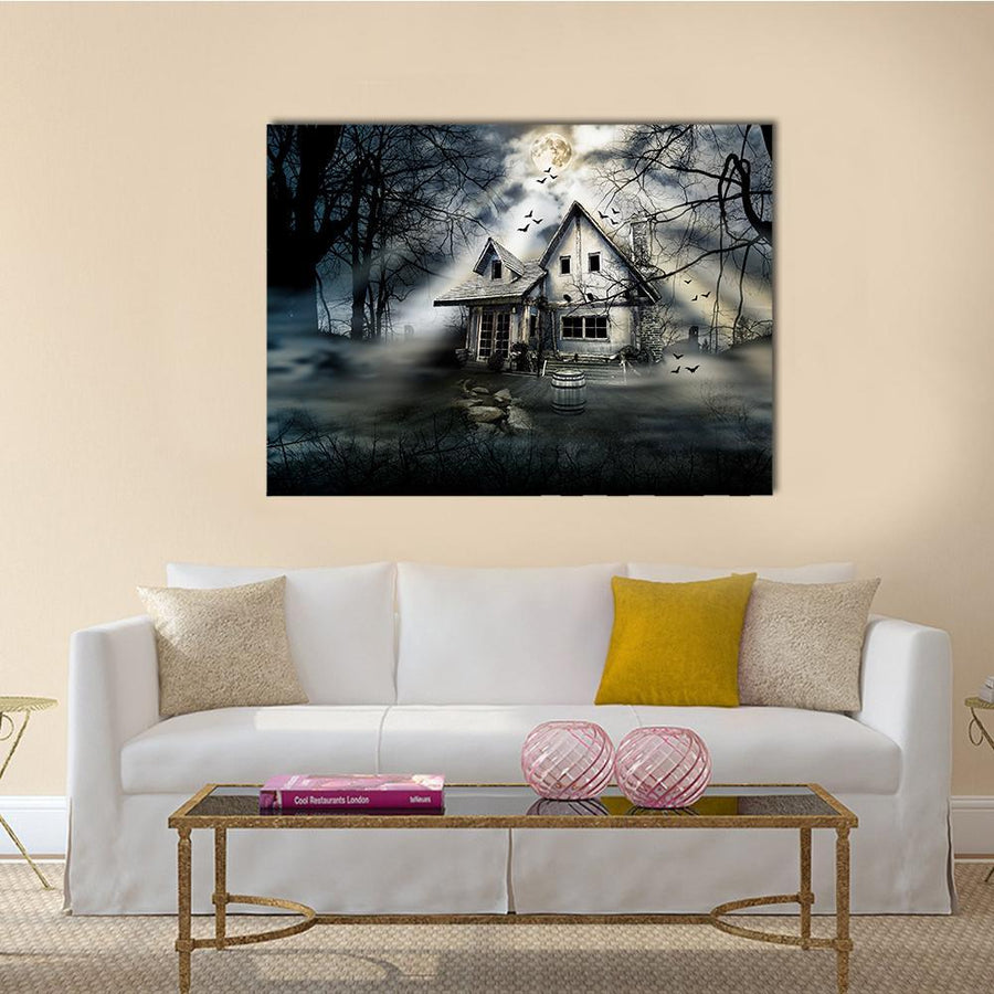 Old Haunted House Canvas Wall Art