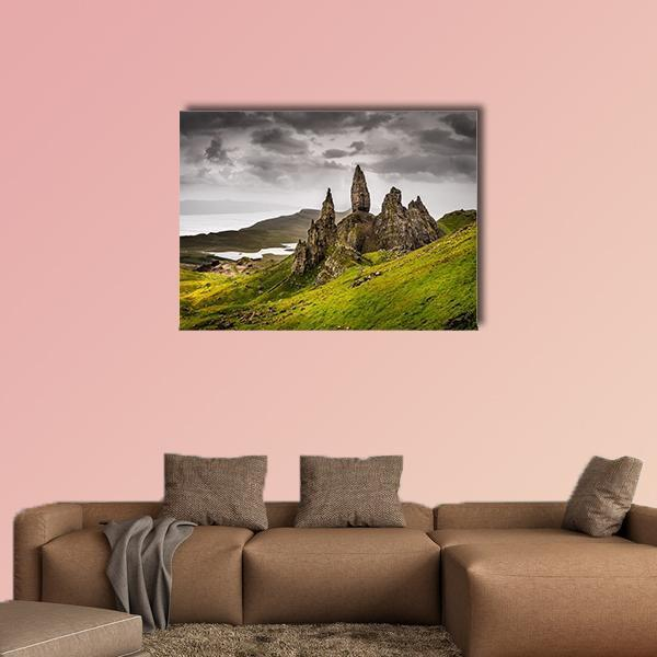 View Of Old Man Of Storr Rock Formation In Scotland Multi Panel Canvas Wall Art 5 Pieces(A) / Medium / Canvas Tiaracle