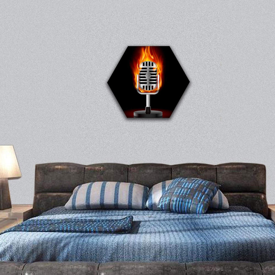 Old Microphone In Fire Illustration Hexagonal Canvas Wall Art 7 Hexa / Small / Gallery Wrap Tiaracle