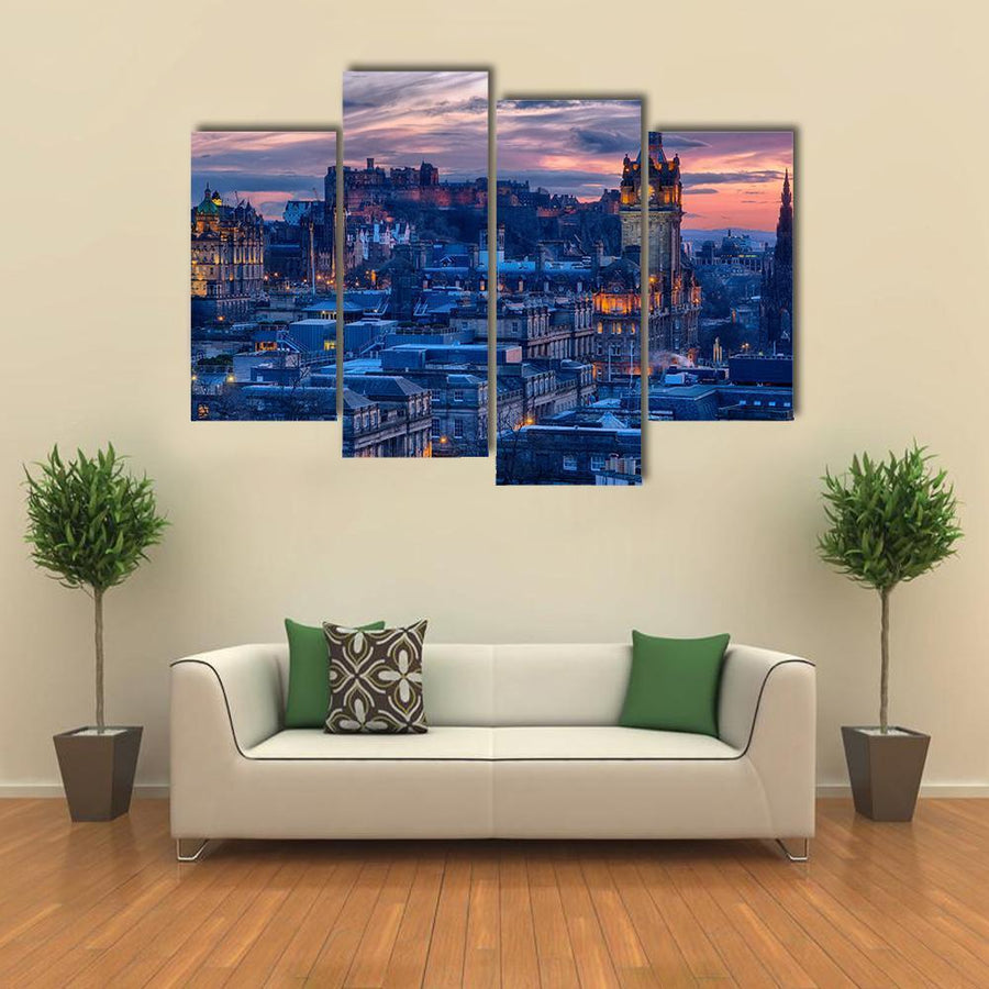 Old Town And Castle In Edinburgh Multi Panel Canvas Wall Art 3 Pieces / Small / Gallery Wrap Tiaracle
