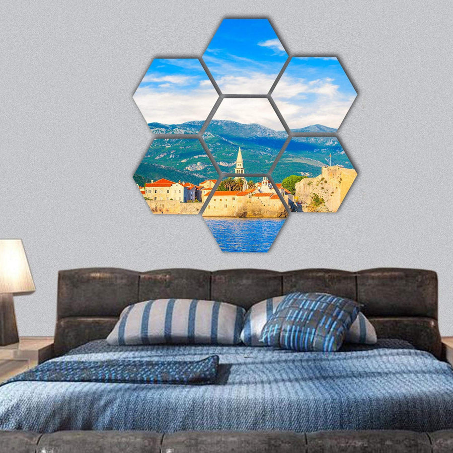 Old Town Of Budva And The Bell Tower Hexagonal Canvas Wall Art 1 Hexa / Small / Gallery Wrap Tiaracle