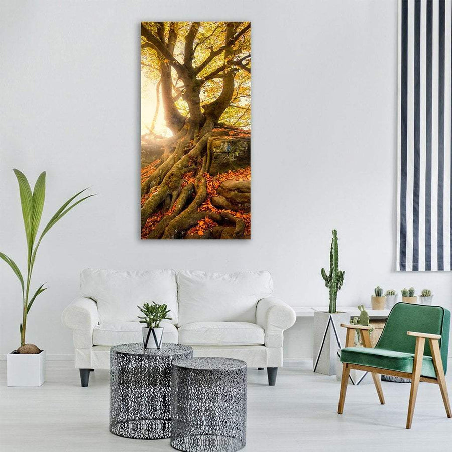 Old Tree In Autumn Vertical Canvas Wall Art 3 Vertical / Small / Gallery Wrap Tiaracle