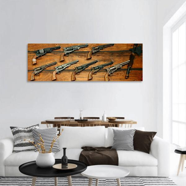 Old West Guns And Rifles Panoramic Canvas Wall Art Tiaracle