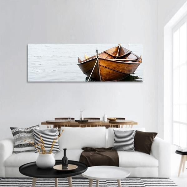 Old Wooden Row Boat On Water Panoramic Canvas Wall Art 3 Piece / Small Tiaracle