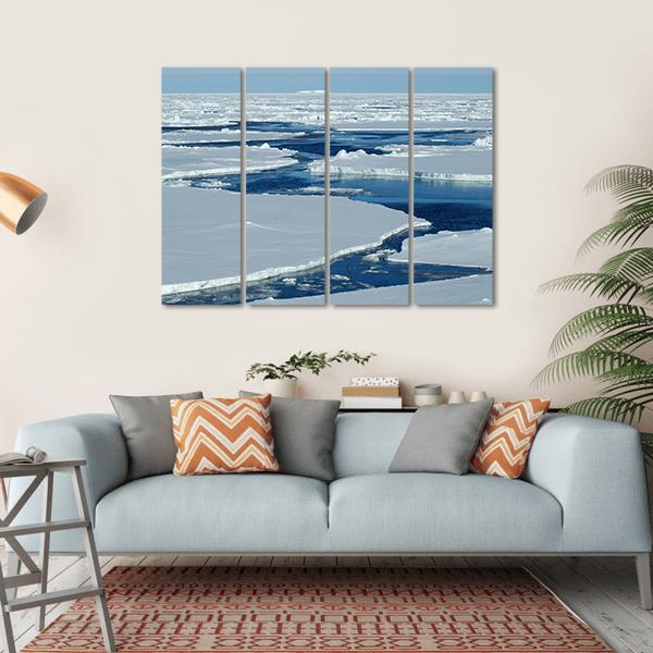 Open Water With Antarctic Pack Ice Multi Panel Canvas Wall Art 1 Piece / Small / Gallery Wrap Tiaracle