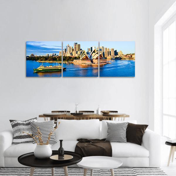 Opera House and City Of Sydney Panoramic Canvas Wall Art 1 Piece / Small Tiaracle