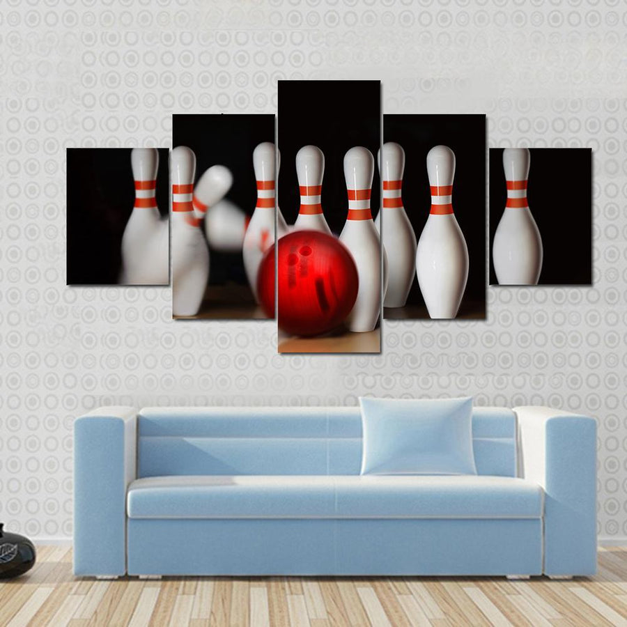 Orange Ball Strike On Tenpin Bowling In Skittle-Ground Canvas Panel Painting Tiaracle
