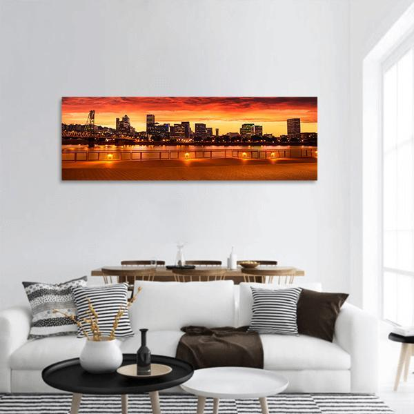 Oregon City Skyline Panoramic Canvas Wall Art 3 Piece / Small Tiaracle