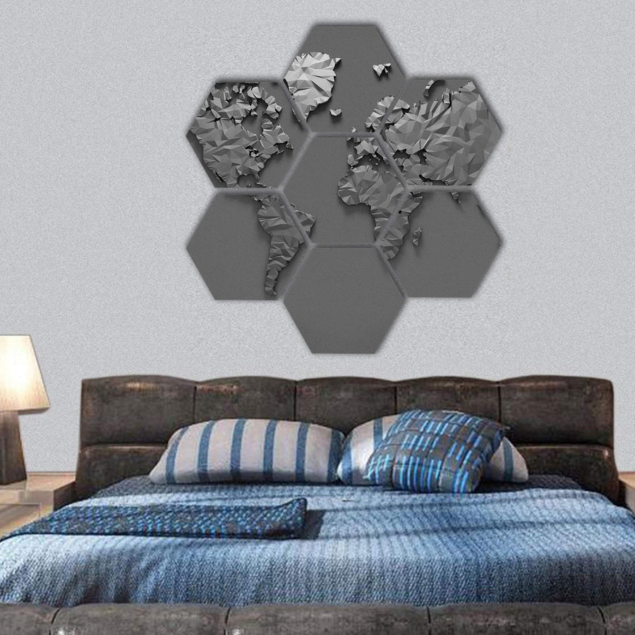 Origami 3D World Map Hexagonal Canvas Wall Art 1 Hexa / Small / Gallery Wrap Tiaracle