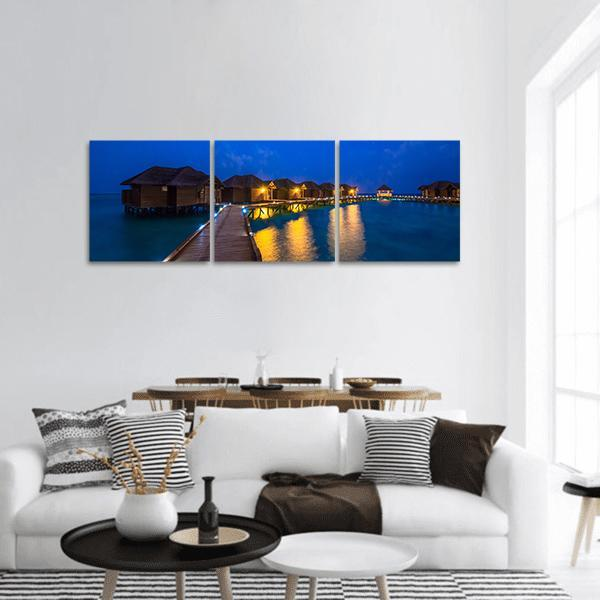 Over Water Bungalows In Polynesia Panoramic Canvas Wall Art 1 Piece / Small Tiaracle