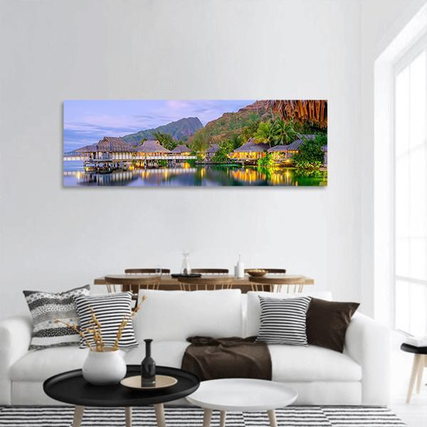 Overwater Bungalows At Dusk Panoramic Canvas Wall Art Tiaracle