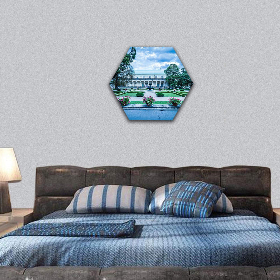 Palace Of Queen Anne At Summer In Prague Hexagonal Canvas Wall Art 7 Hexa / Small / Gallery Wrap Tiaracle