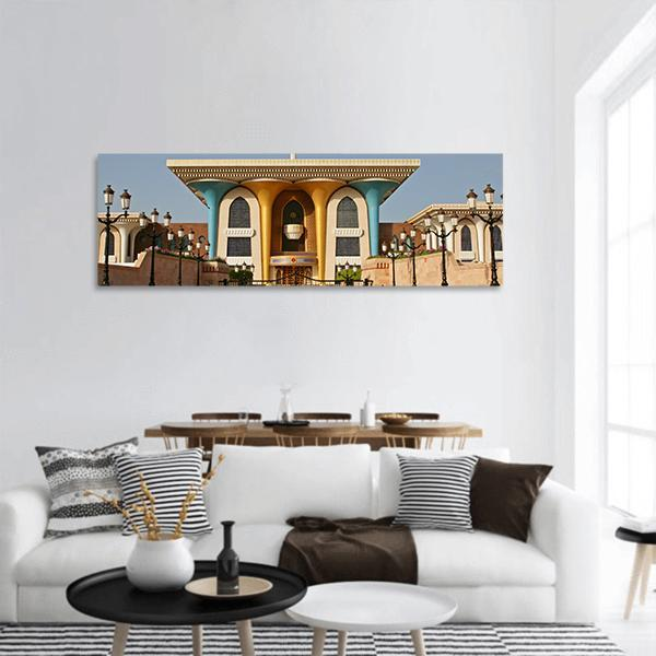 Palace Of Sultan Al Qaboos In Muscat Panoramic Canvas Wall Art 3 Piece / Small Tiaracle
