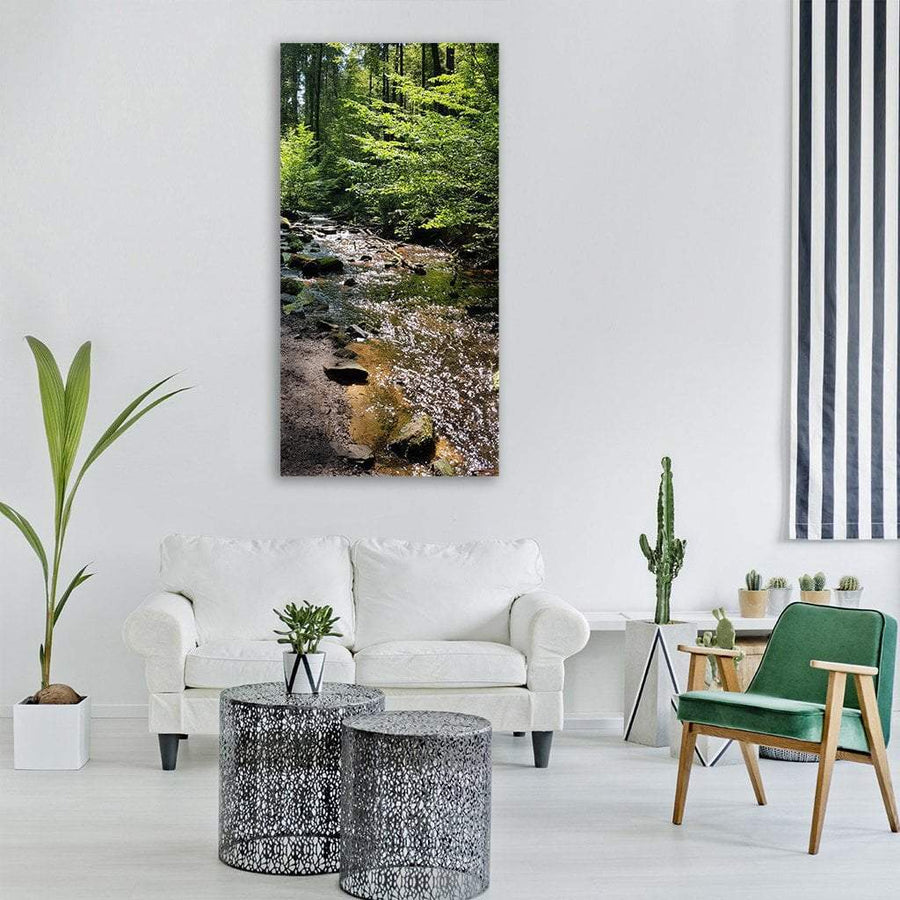 Palatinate Forest Creek Water In Germany Vertical Canvas Wall Art 1 Vertical / Small / Gallery Wrap Tiaracle