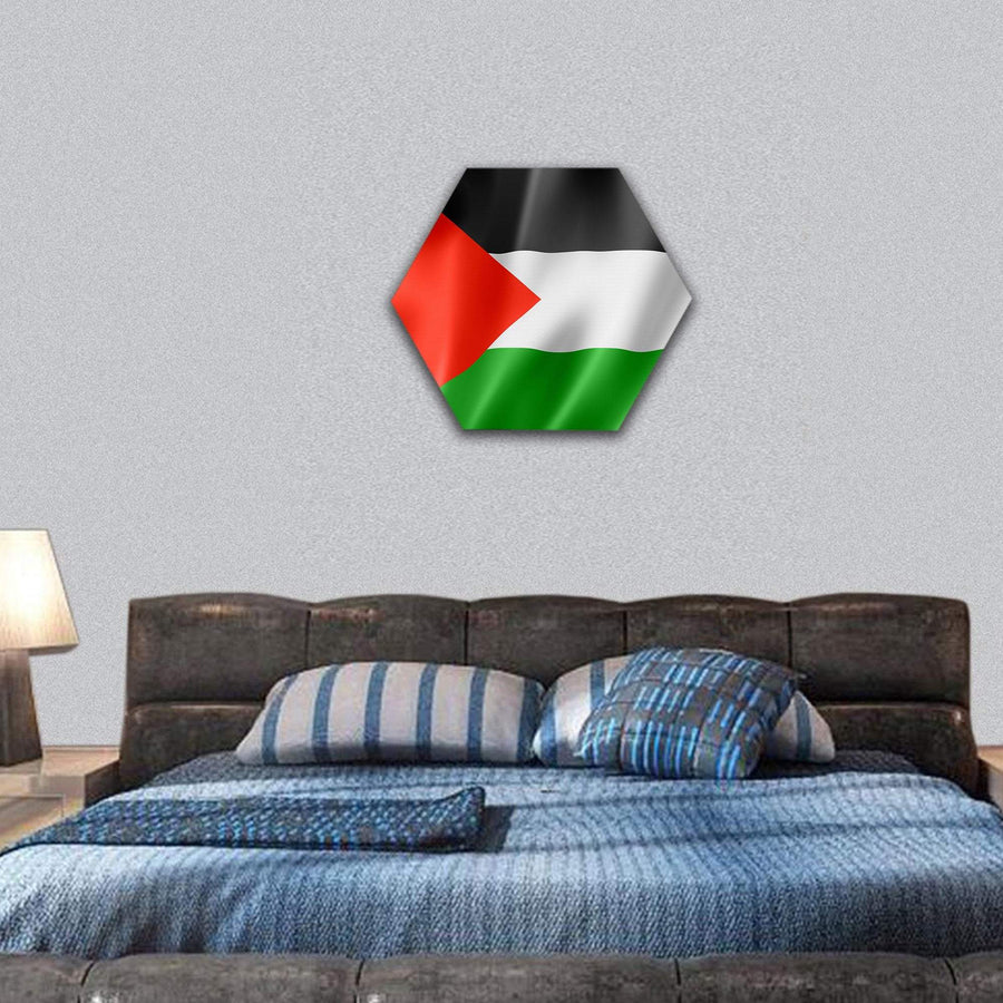 Palestine Flag Hexagonal Canvas Wall Art 7 Hexa / Small / Gallery Wrap Tiaracle