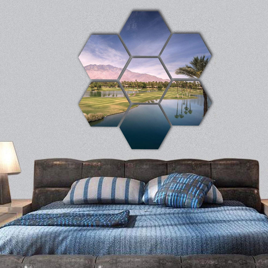 Palm Springs On Summer Day Hexagonal Canvas Wall Art 1 Hexa / Small / Gallery Wrap Tiaracle