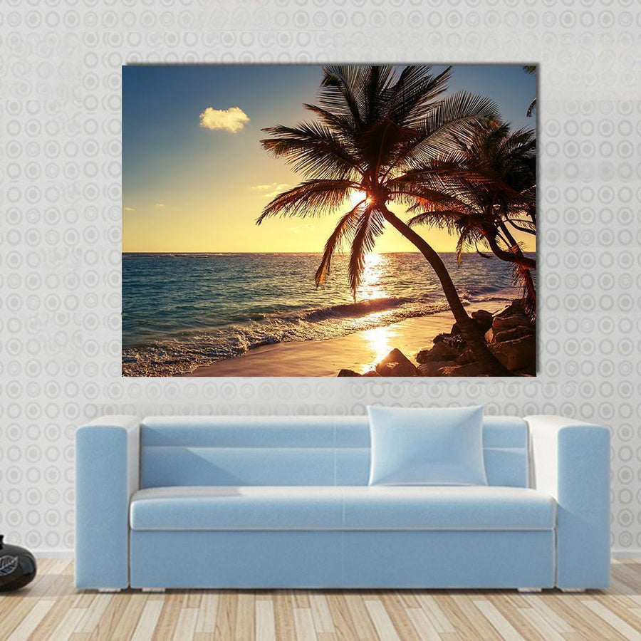Palm Tree At Sunrise On The Tropical Beach Canvas Wall Art