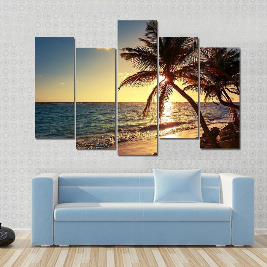 Palm Tree On The Tropical Beach, Sunrise View Canvas Panel Painting Tiaracle