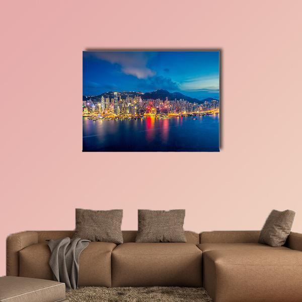 Panorama Of Hong Kong City Skyline At Sunset Multi Panel Canvas Wall Art 3 Pieces / Medium / Canvas Tiaracle100587571_xl