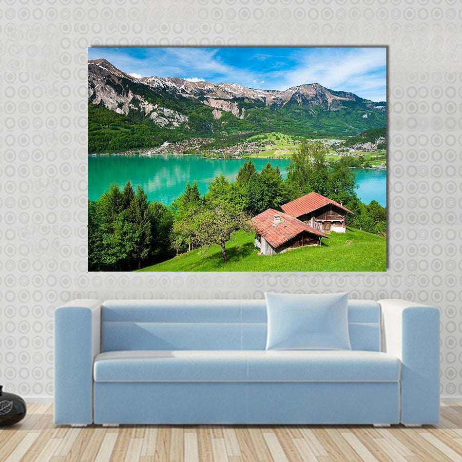 Panorama Of Lake Brienz With The Town Brienz, Switzerland Multi Panel Canvas Wall Art 4 Square / Small / Gallery Wrap Tiaracle