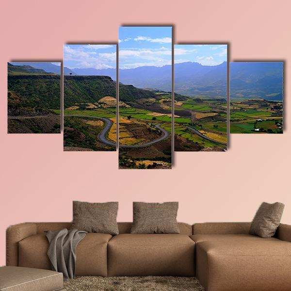 Panorama Of Semien Mountains Multi Panel Canvas Wall Art 5 Pieces(A) / Medium / Canvas Tiaracle