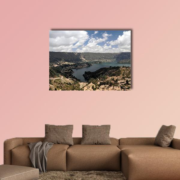 Panorama Of Wenchi Crater Lake Multi Panel Canvas Wall Art 5 Pieces(A) / Medium / Canvas Tiaracle