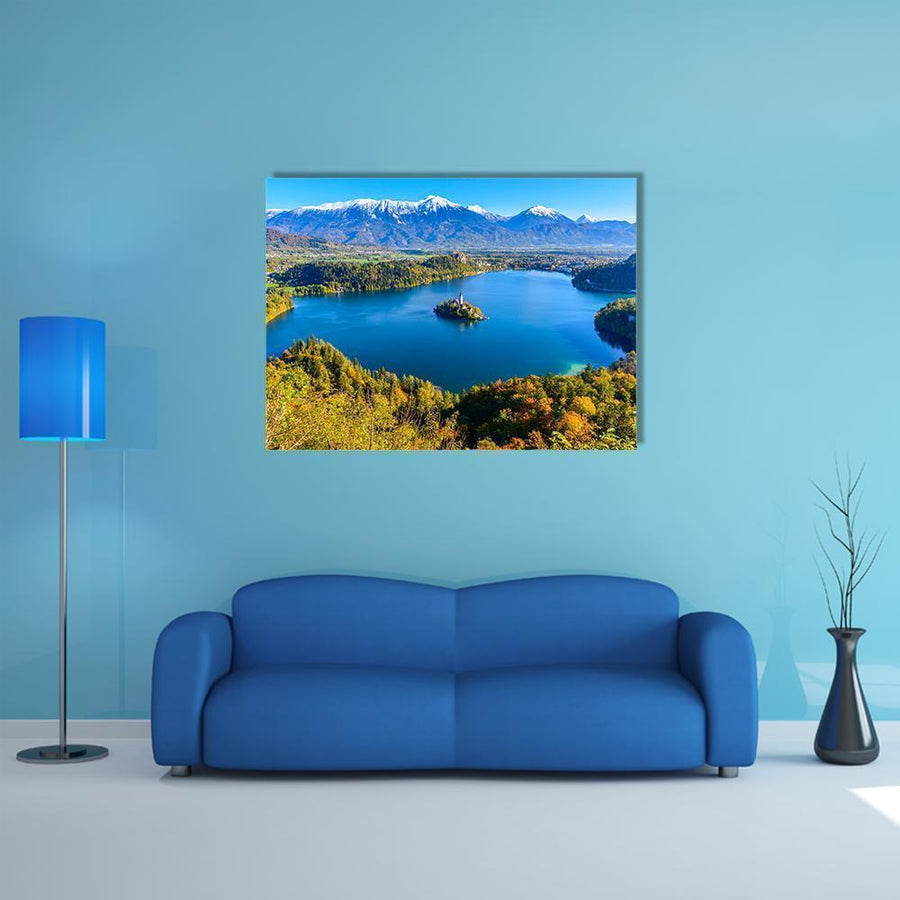 Panoramic View Of Lake Bled In Slovenia Canvas Wall Art-4 Horizontal-Small-Gallery Wrap-Tiaracle