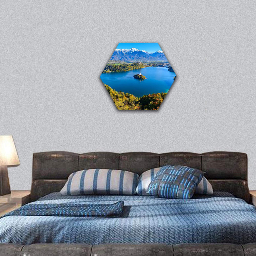 Panoramic View Of Lake Bled In Slovenia Hexagonal Canvas Wall Art 7 Hexa / Small / Gallery Wrap Tiaracle