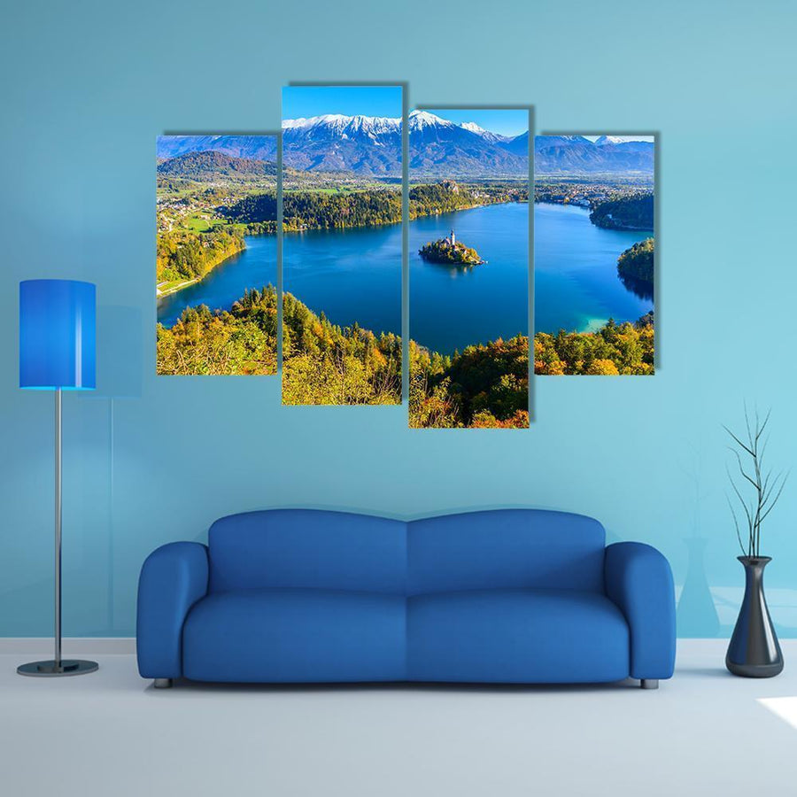 Panoramic View Of Lake Bled In Slovenia Multi Panel Canvas Wall Art 3 Pieces / Medium / Canvas Tiaracle