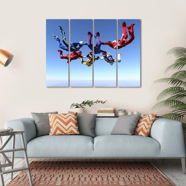 Paratroopers Ring In Free Fall Multi Panel Canvas Wall Art-1 Piece-Small-Gallery Wrap-Tiaracle