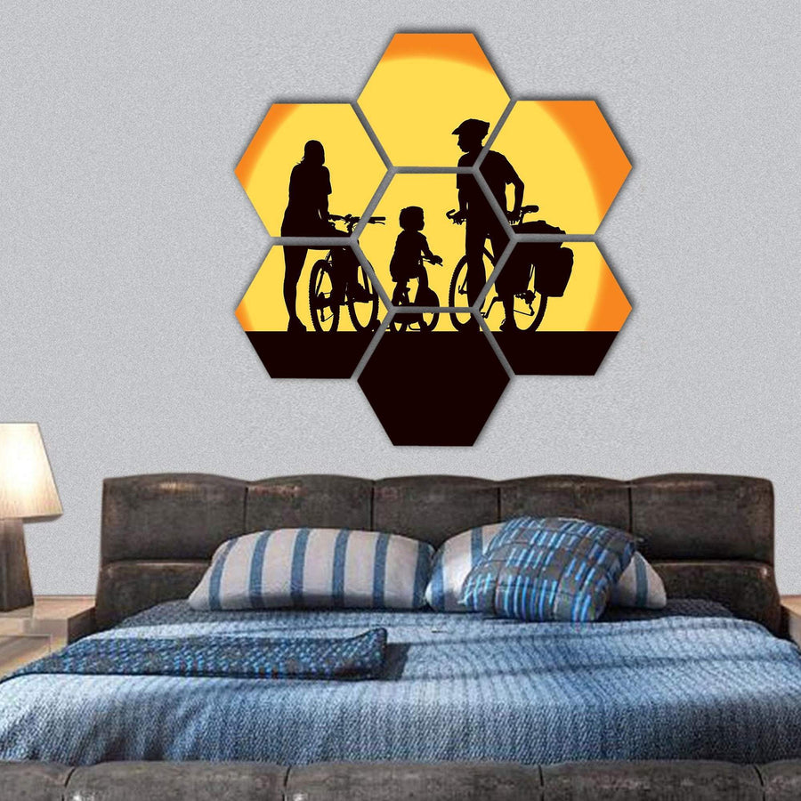 Parents And Child Cycling On A Trip Hexagonal Canvas Wall Art 1 Hexa / Small / Gallery Wrap Tiaracle