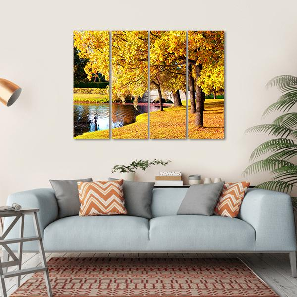 Park During Autumn In Saint Petersburg Canvas Wall Art-1 Piece-Small-Gallery Wrap-Tiaracle