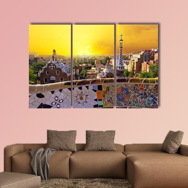 Park Guell Museum Designed By Antoni Gaudi Multi Panel Canvas Wall Art 4 Pieces / Medium / Canvas Tiaracle