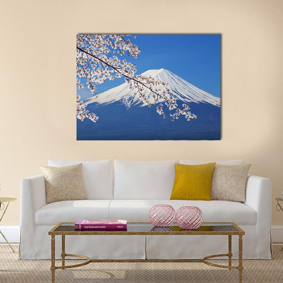 Peak Of Mount Fuji With Cherry Blossom Canvas Panel Painting Tiaracle