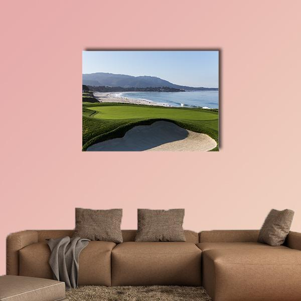 View Of Pebble Beach Golf Course In California Multi Panel Canvas Wall Art 5 Pieces(B) / Medium / Canvas Tiaracle