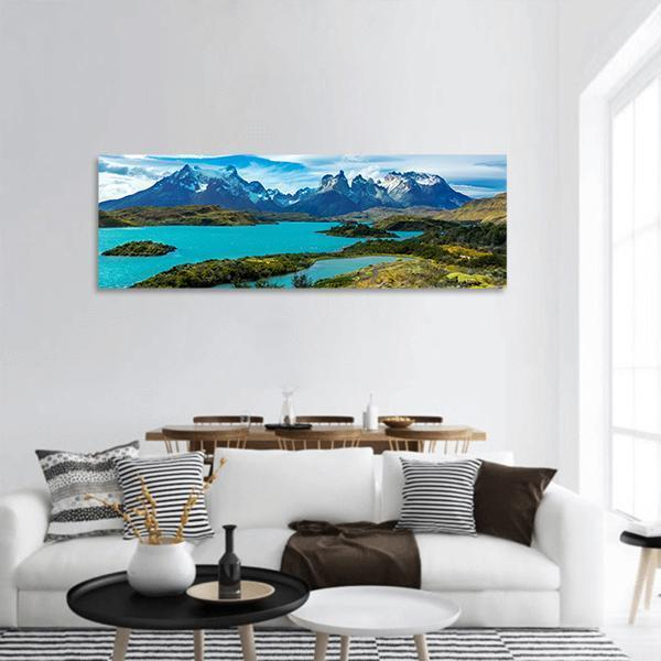 Pehoe lake in Patagonia Panoramic Canvas Wall Art 3 Piece / Small Tiaracle