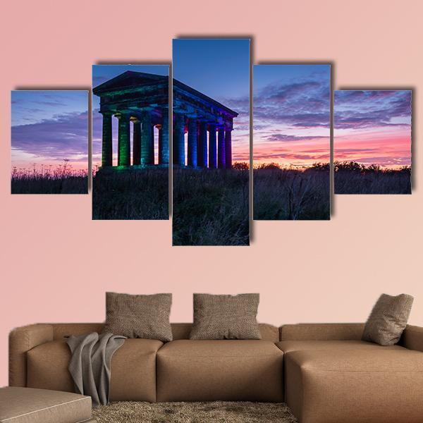 Penshaw Monument At Dusk Multi Panel Canvas Wall Art 3 Pieces / Medium / Canvas Tiaracle