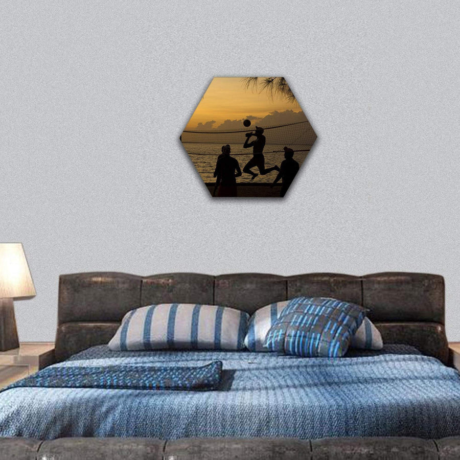 People Playing Beach Volleyball At Sunset Hexagonal Canvas Wall Art 7 Hexa / Small / Gallery Wrap Tiaracle