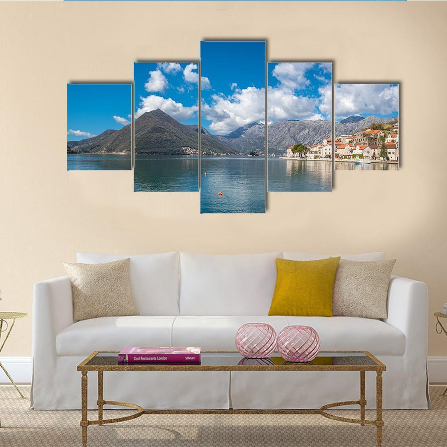 Perast Town In The Kotor Bay Multi Panel Canvas Wall Art 3 Pieces / Medium / Canvas Tiaracle