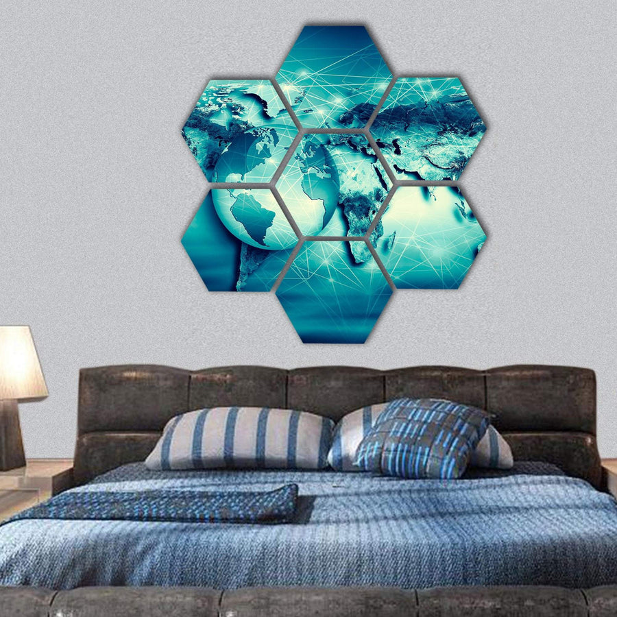 Physical World Map Hexagonal Canvas Wall Art 1 Hexa / Small / Gallery Wrap Tiaracle