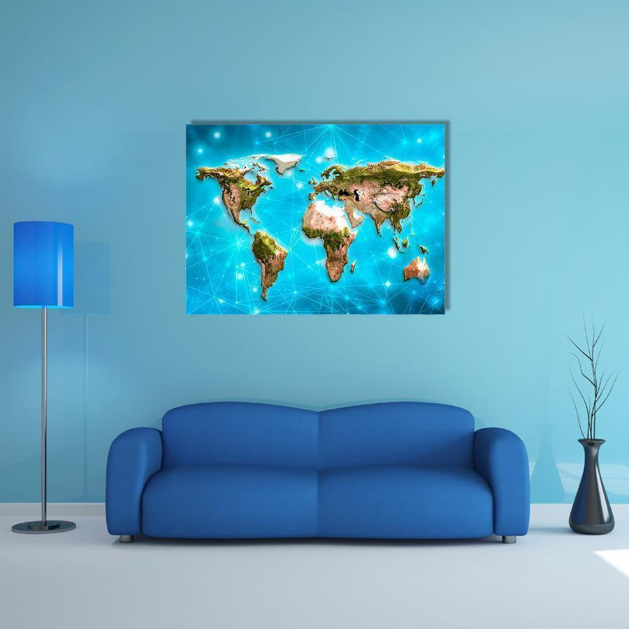 Physical World Map Illustration Multi Panel Canvas Wall Art 5 Horizontal / Small / Gallery Wrap Tiaracle
