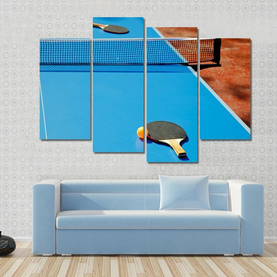 Ping Pong Ball With Paddle On Tennis Table Multi Panel Canvas Wall Art 3 Pieces / Small / Gallery Wrap Tiaracle