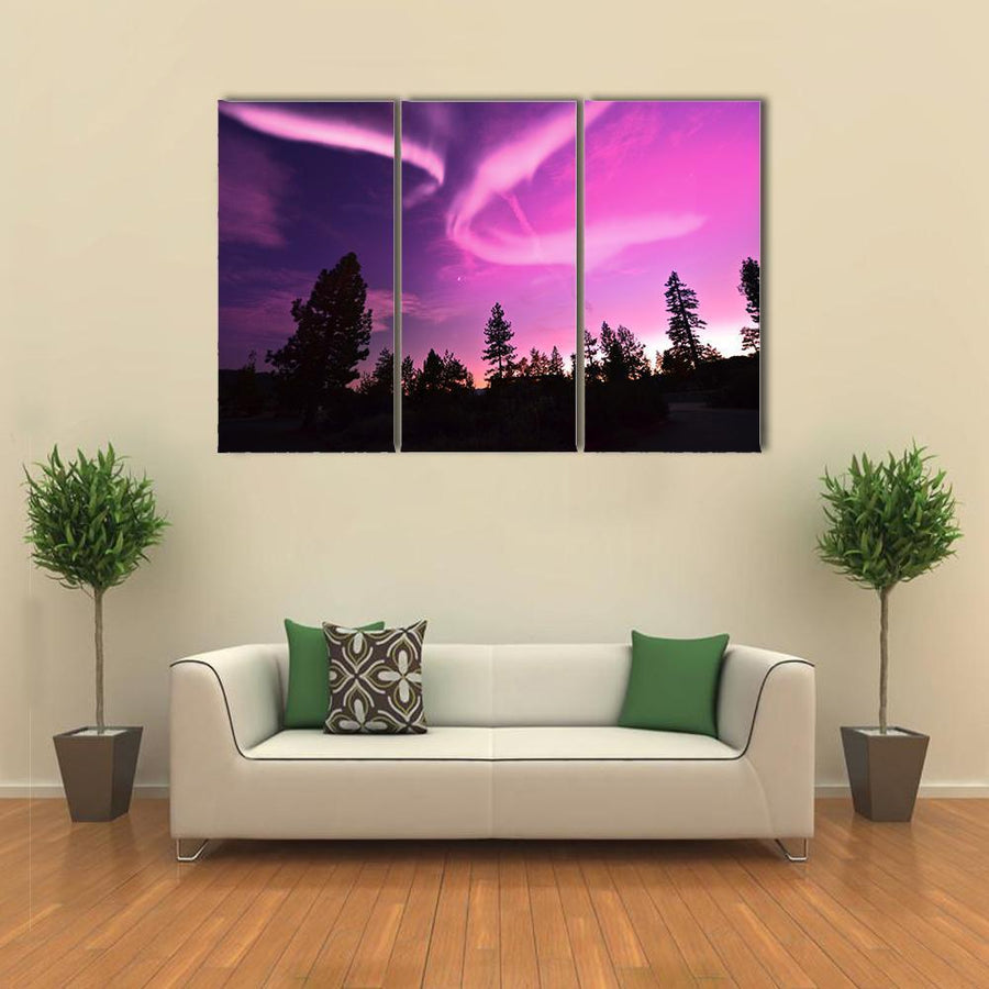 Pink Northern Lights , Aurora Borealis Multi Panel Canvas Wall Art 5 Pieces(A) / Medium / Canvas Tiaracle