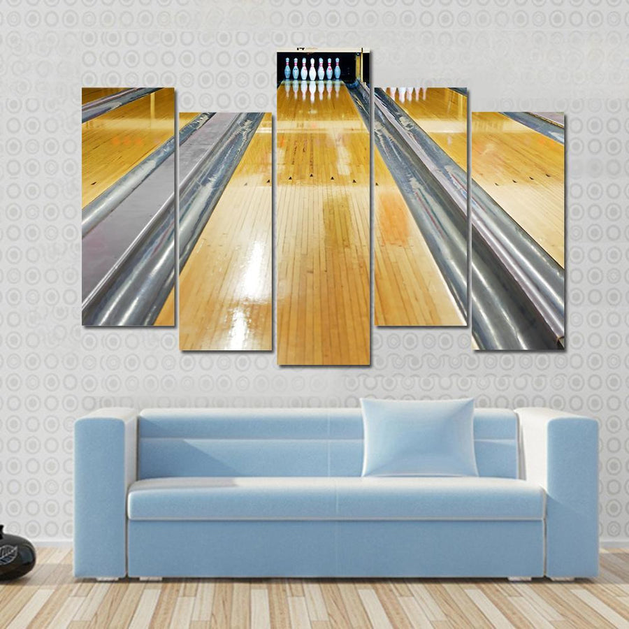 Bowling Pins At The End Of Bowling Lane Canvas Panel Painting Tiaracle