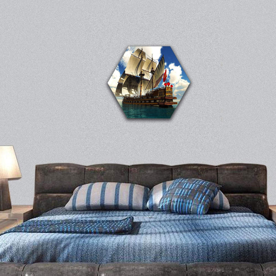 Pirate Brigantine Hexagonal Canvas Wall Art 7 Hexa / Small / Gallery Wrap Tiaracle