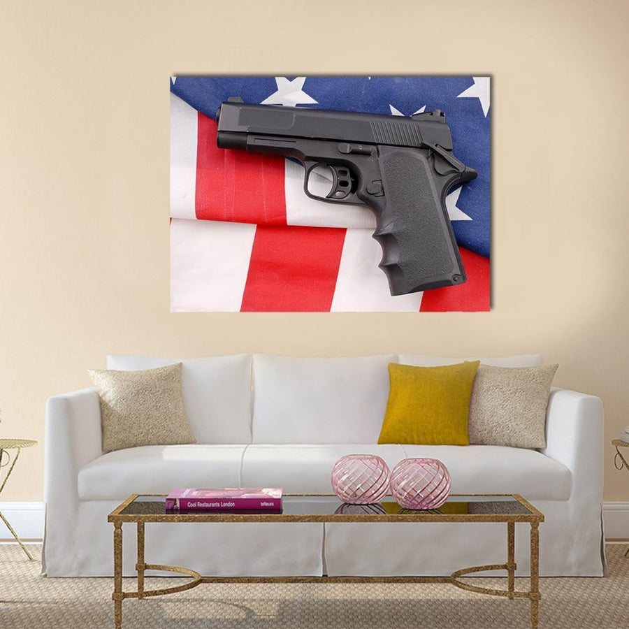 Pistol With American Flag Multi Panel Canvas Wall Art 4 Horizontal / Small / Gallery Wrap Tiaracle