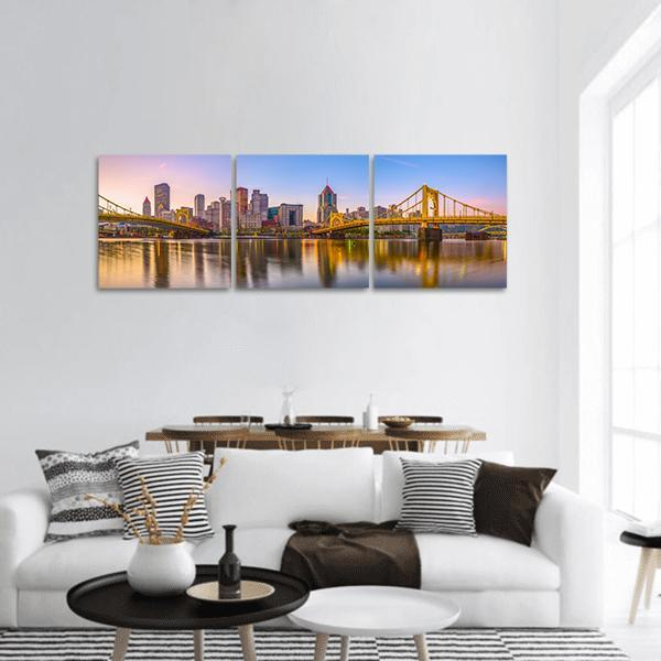 Pittsburgh Skyline On  Allegheny River Panoramic Canvas Wall Art 1 Piece / Small Tiaracle