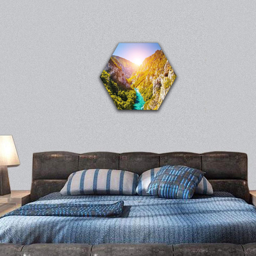 Piva Canyon In Montenegro Hexagonal Canvas Wall Art 7 Hexa / Small / Gallery Wrap Tiaracle