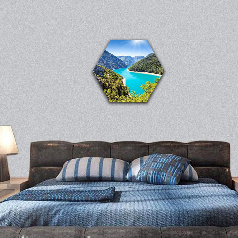 Piva Canyon With Its Reservoir Hexagonal Canvas Wall Art 7 Hexa / Small / Gallery Wrap Tiaracle